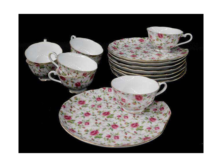 Set of 8 Lefton China Snack Plates & Cups in Rose Chintz