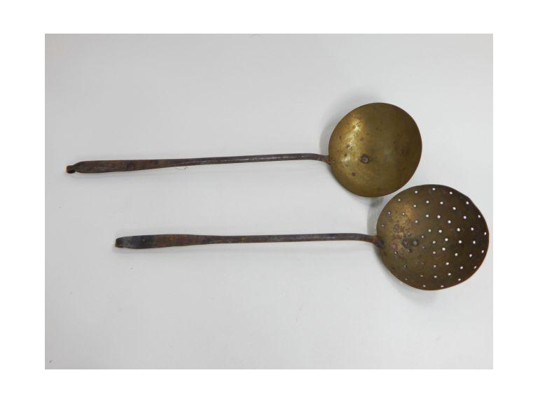 Pair of Primitive Wrought Iron & Brass Scoops