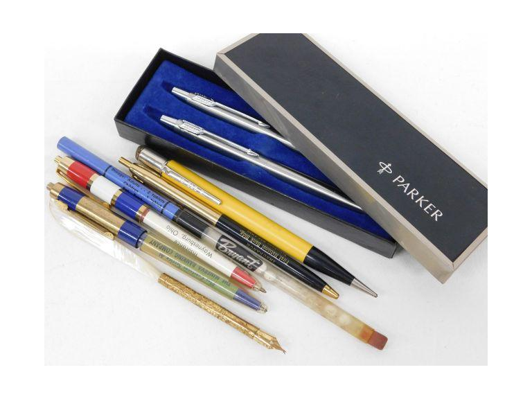 Collection of Advertising Pens, Parker Set and 14k Gold Nib
