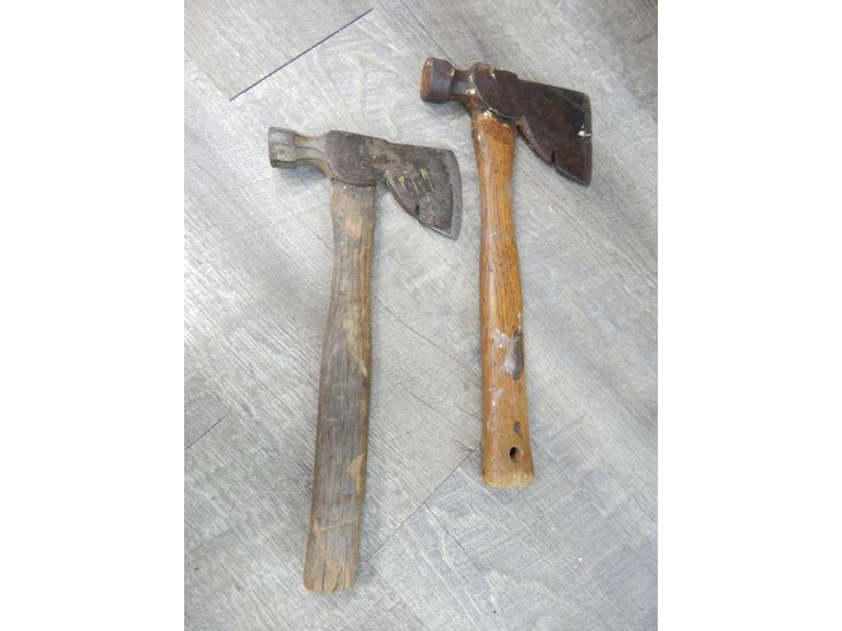 Pair of Old Hatchets with a Chrome X Quality