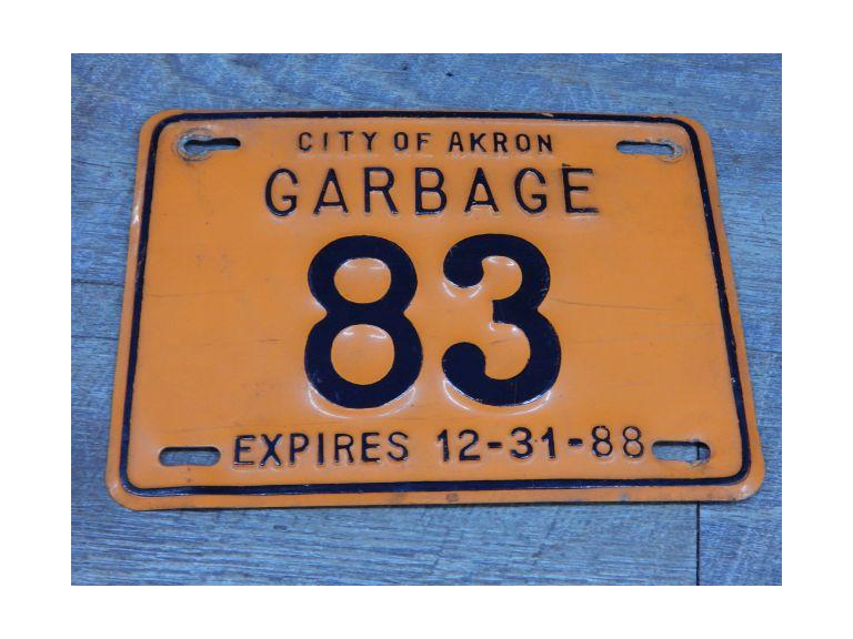 Old Garbage Truck License Plate