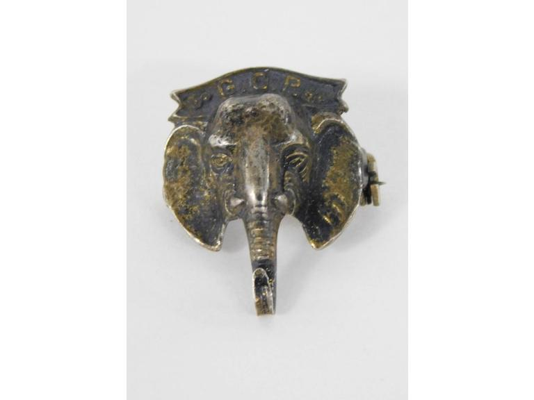 Old Sterling Silver GOP Elephant Head Pin