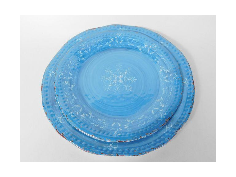 Large Distressed Turquoise Melamine Serving Trays
