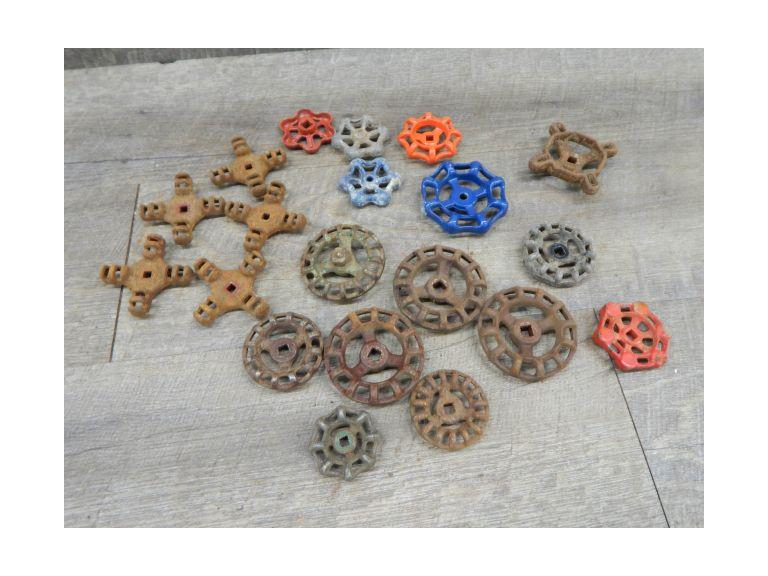 Collection of Water Valve Handles Large collection of old and vintage cast iron and aluminum water valve handles, the largest is 2 1/2'' wide