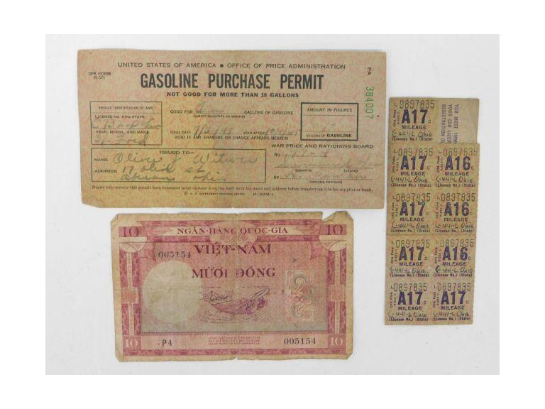 WW2 Gasoline Ration Stamps & Permit Card PLUS 1950's Vietnam Dong