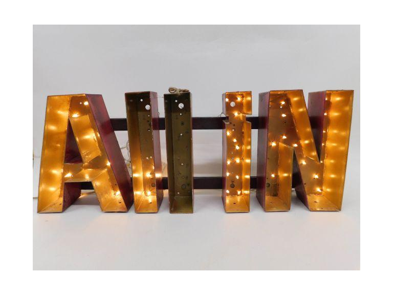 "Handcrafted, Rustic Metal ""All In"" Lighted Sign"