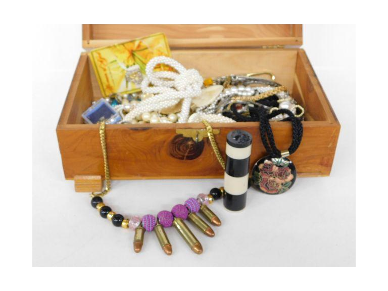 Wood Jewelry Box Filled with Unsorted Jewelry