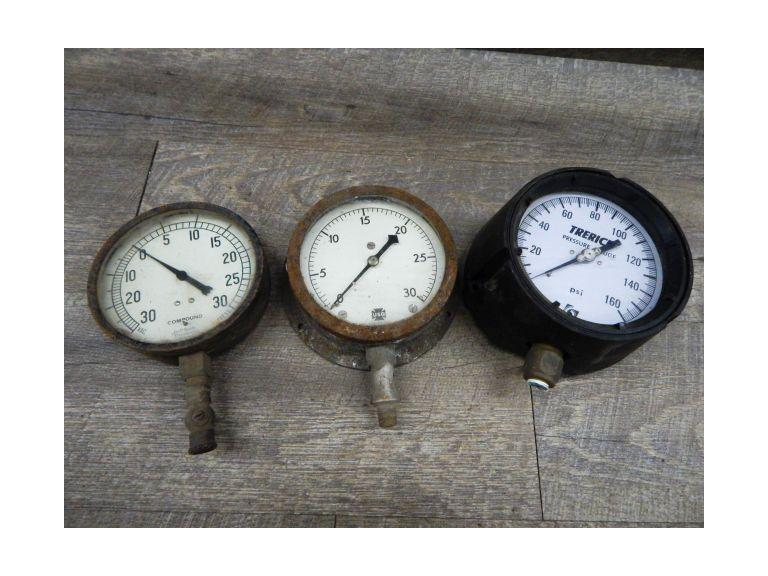 Collection of Old Industrial Pressure Gauges