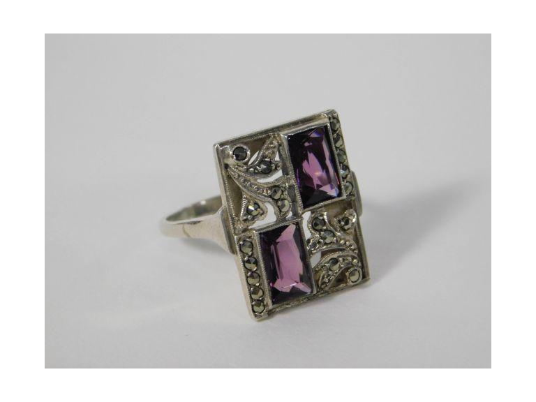 Amethyst and Marcasite Art Deco Sterling Silver Ring