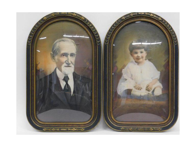 Old Colorized Portraits Under Domed Glass