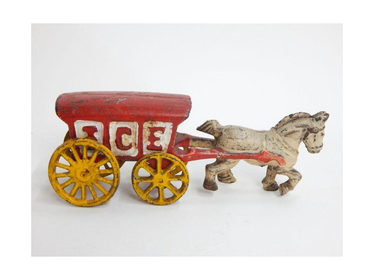 Small Cast Iron Toy Ice Wagon
