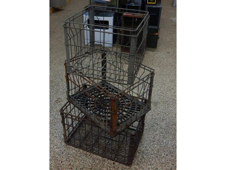 Collection of Old Steel Wire Framed Milk Crates