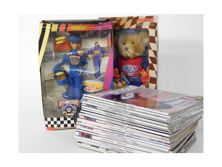 Nascar Lot with Barbie, Du Pont Bear and Nascar Illustrated Magazines