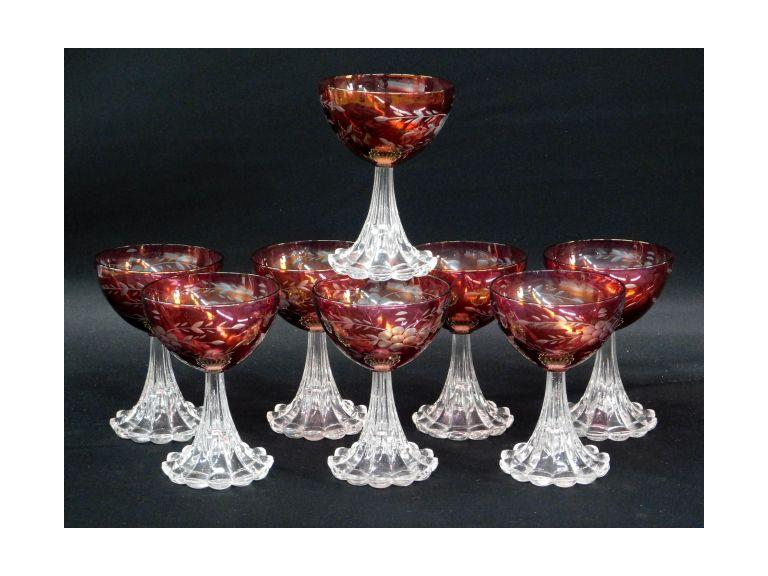 Ruby Flash Etched Crystal Wine Glasses