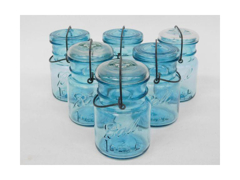 Lot of 6 Blue Ball Glass Canning Jars