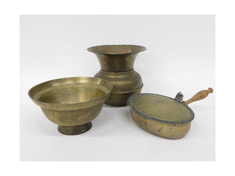 Brass Lot With Spitoon, Crumb Catcher and Heavy Oriental Bowl