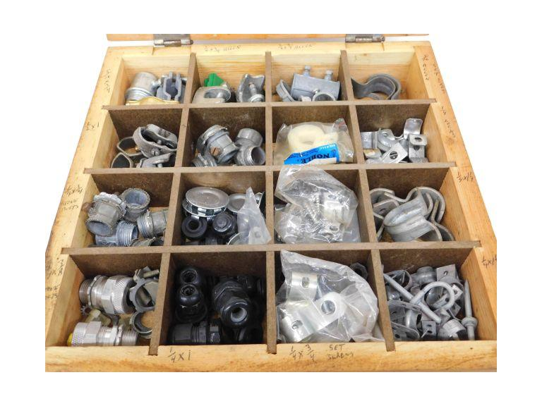Electric Conduit Fittings in Wood Storage Case