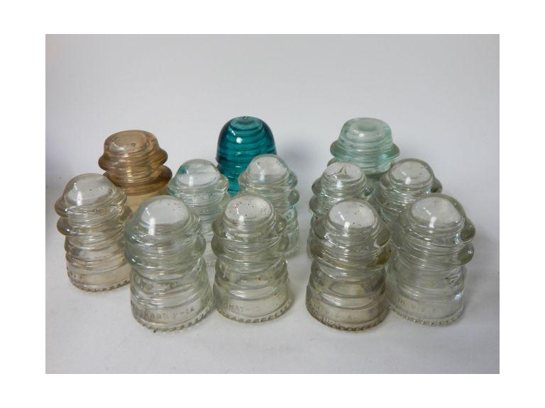 Collection of Antique Glass Telephone Pole Insulators