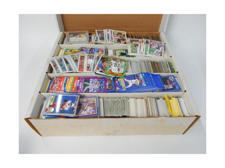 Large Card Box Full of 1970's -90's Football and Baseball Cards