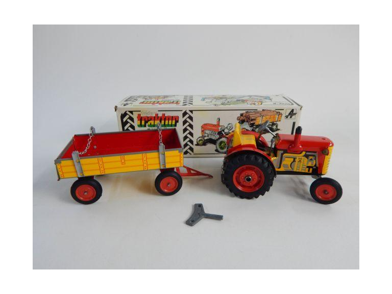 Tin Metal Czechoslovakian Wind-Up Tin Metal Tractor