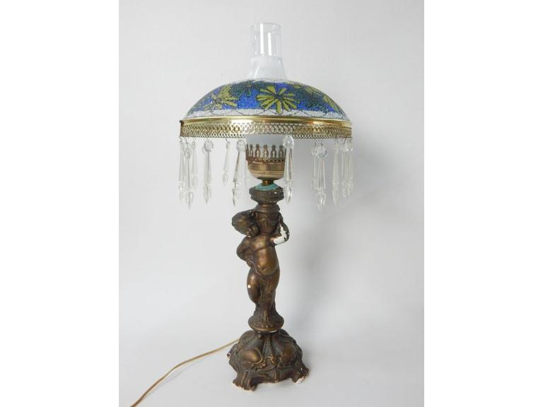 Chalkware Cherub Lamp with Glass and Crystal Shade