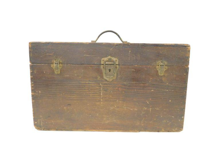 Old Wooden Leather Handled Storage Case