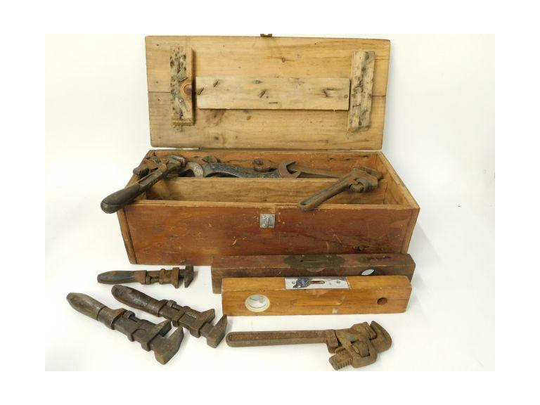 Hand Crafted Wooden Tool Box with old and antique hand tools