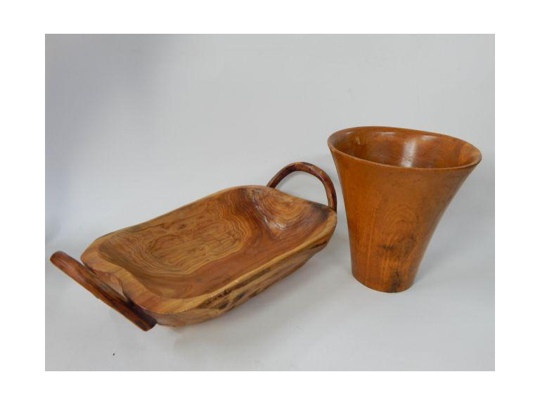 Natural Wood Vase and Handled Bowl