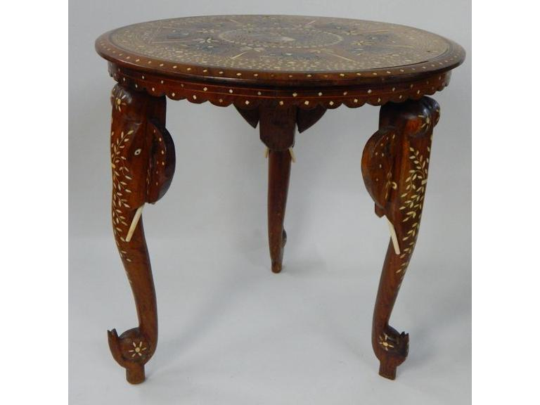 Elephant Head Wooden Side Table with Inlays