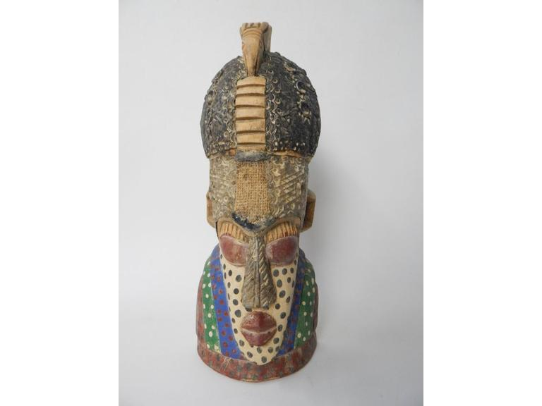 Hand Carved and Painted Tribal Head Figure