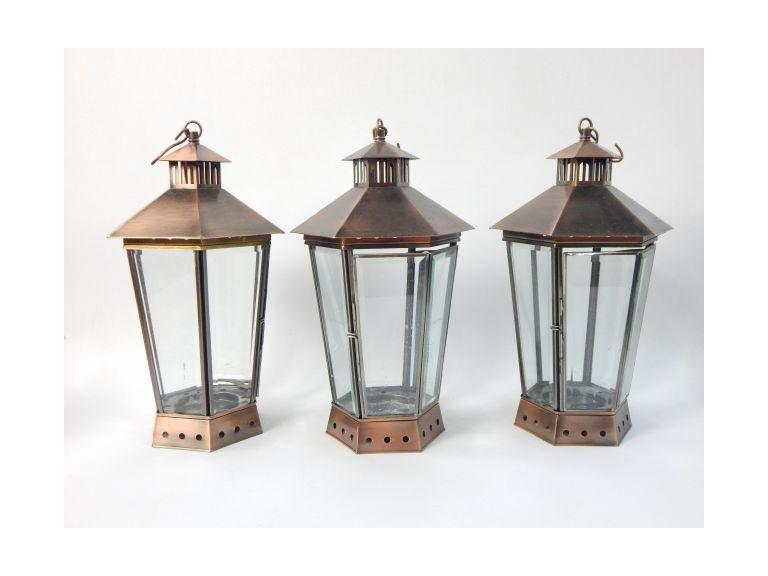 Set of 3 Tall Beveled Glass Candle Lantern