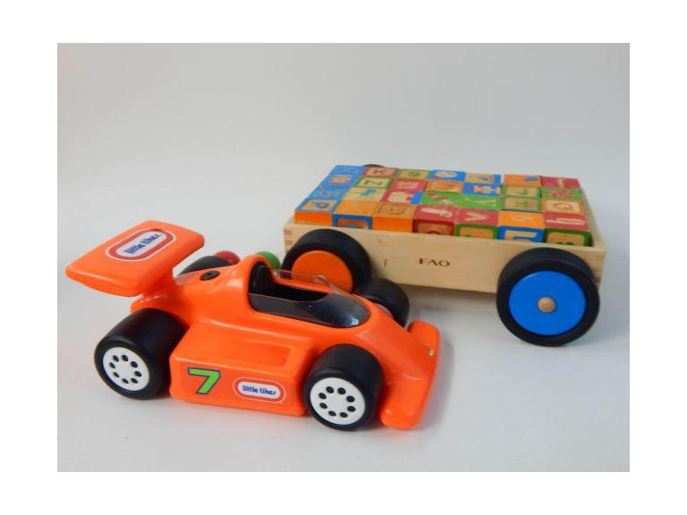 Wooden Block Set and Little Tikes Car