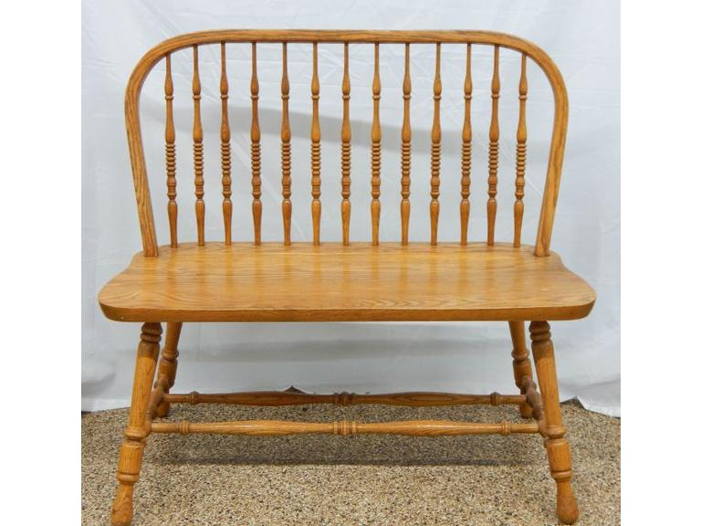 Solid Oak Spindle Back Bench