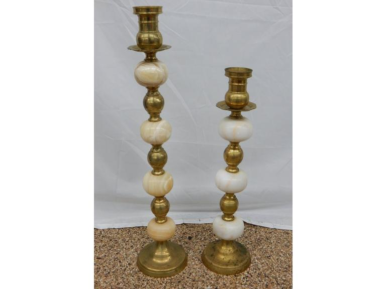 Pair of Tall Brass and Marble Candle Stands