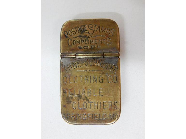 Antique Brass Pocket Postage Stamp Case