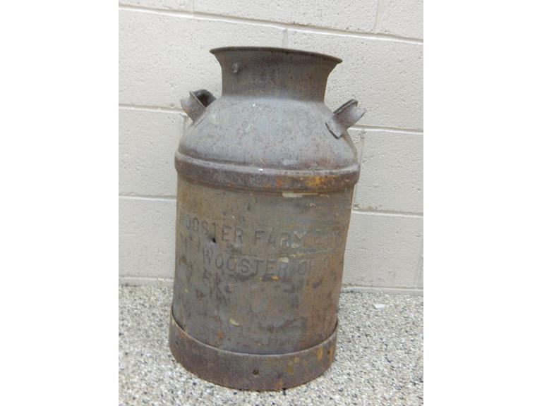 Antique Wooster Farms Steel Milk Jug