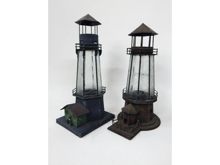Tall Tine Metal & Brass Lighthouses
