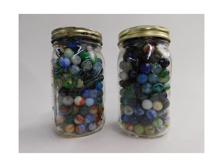 2 Large Canning Jars of Marbles