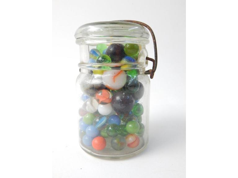 Bail Top Canning Jar of Marbles