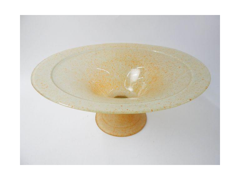 Large Art Glass Pedestal Bowl