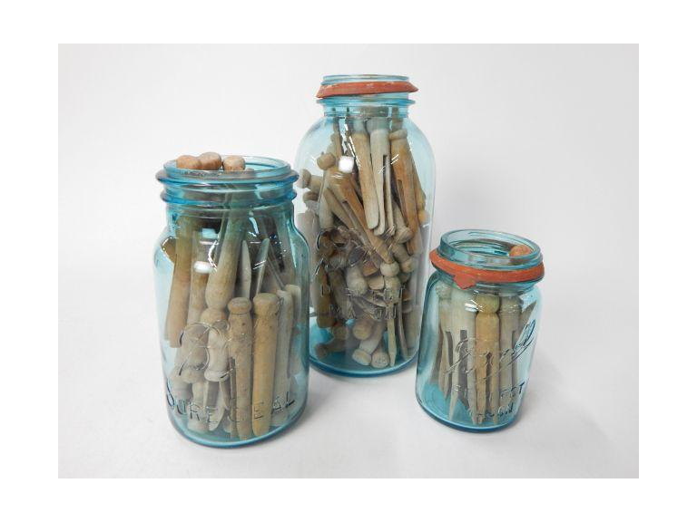 Blue Mason Jars of Wooden Cloth Pins