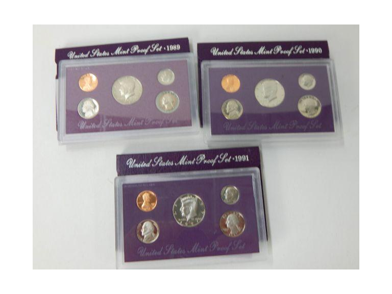 1989, 90 &91 Proof Coin Sets