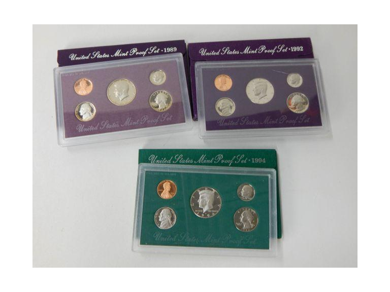 1989, 92 & 1994 Mint Proof Coin Sets