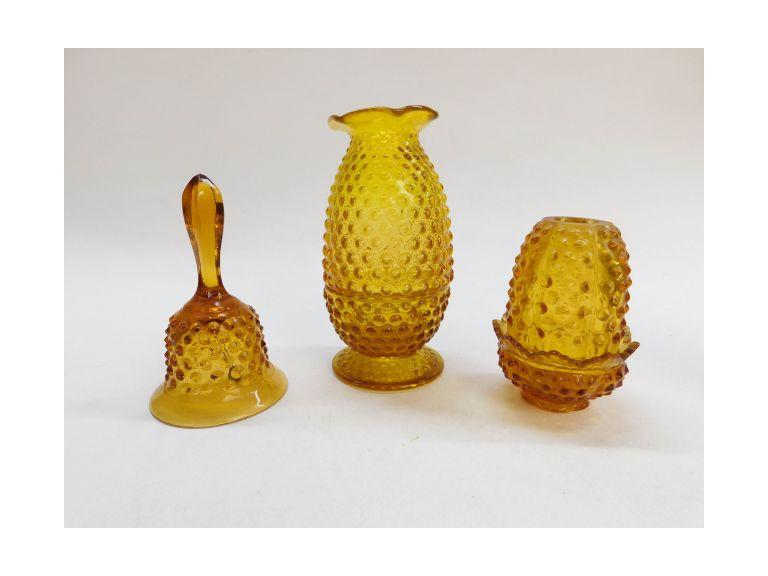 Amber Hobnail Glass Lot