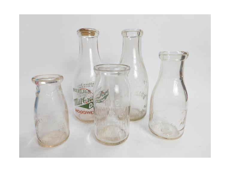 Collection of Glass Milk Bottles