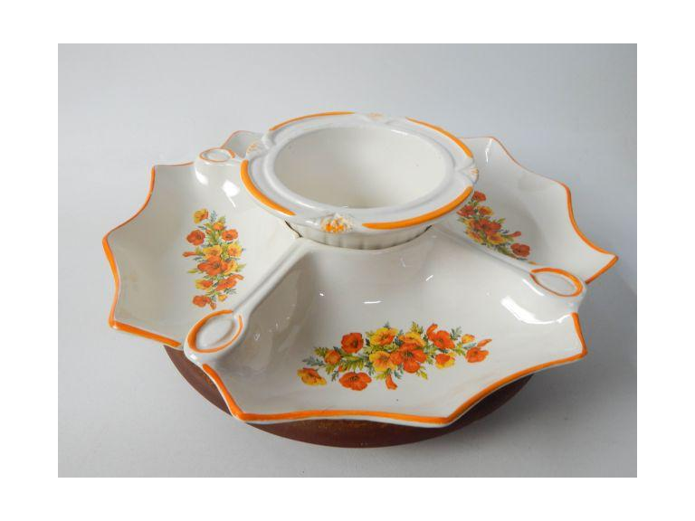Vintage California Pottery Serving Platter Set