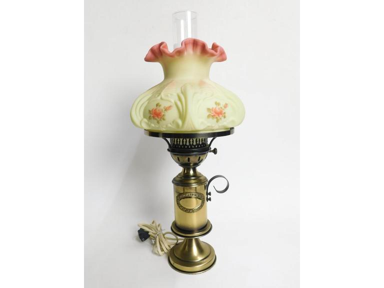Hand Painted Fenton Glass Shaded Table Lamp