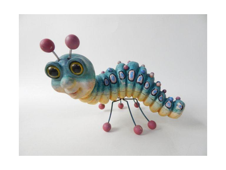 Colorful Caterpillar Garden Statue