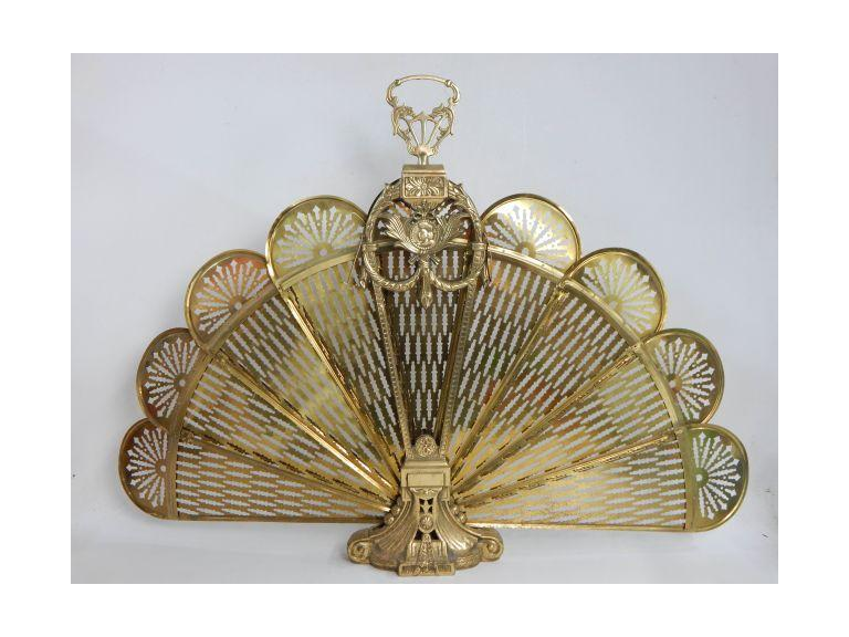 Brass Peacock Style Fan Out Fireplace Cover
