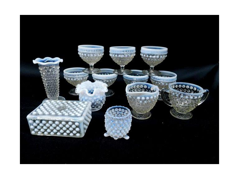 Moonglow Hobnail Glass Pieces
